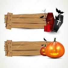 halloween horizontal wooden banners u2014 stock vector kaktus2536