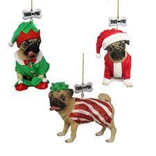 doug the pug ornaments 3 assorted kurt s adler