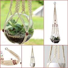 White Hanging Planter by Creamy White Macrame Hanging Planter Cotton With Beads 35