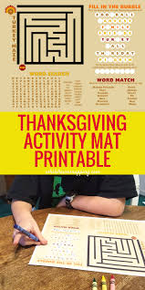 thanksgiving activity placemat printable while he was napping
