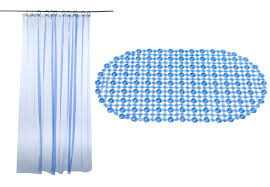 Blue Bath Mat Blue Bath Mat U0026 Shower Curtain Set 100 Vinyl Easy Care Wipe Clean