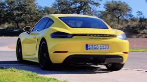 yellow porsche side view 2018 yellow porsche 718 cayman gts 365 hp exhaust sound and