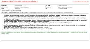 Logistics Responsibilities Resume Logistics Specialist Job Title Docs
