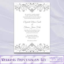 Wedding Template Invitation Gray Wedding Invitations Template Diy By Weddingprintablesdiy
