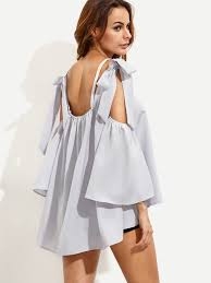 open shoulder blouse grey bell sleeve bow tie open shoulder blouse emmacloth fast