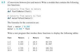 2 meters feet solved must program in python conversions between
