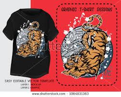 t shirt design japanese styleking tiger stock vector 1064831363