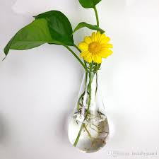 clear climbing wall glass flower vase water droplet shape air