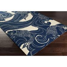 Koi Outdoor Rug Stylish Navy Blue Koi Fish Outdoor Rug