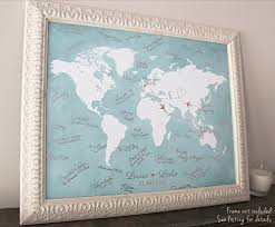 wedding gift map wedding guest book alternative custom world map