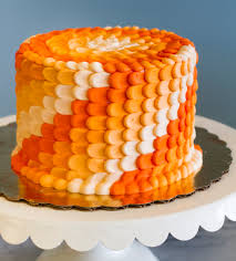 an orange ombre cake with a beautiful petal texture cake 015