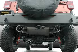4bt cummins jeep cherokee gibson 617303 stainless steel split rear exhaust for 07 17 jeep