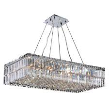 Rectangular Chandelier With Crystals Worldwide Lighting Cascade 16 Light Chrome With Clear Crystal