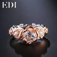 rings with brilliant images Edi rose flower 1ct moissanite diamond wedding ring brilliant 14k jpg