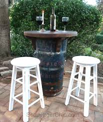 Barrel Bistro Table Upcycled Barrel Bistro Set Diy Scavenger Chic