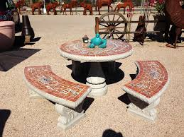 Tiled Patio Table Concrete Furniture Loya S Courtyard