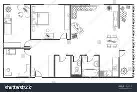 architecture plan furniture top view 4rooms stock vector 516968116