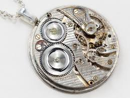 Pendant Engraving Steampunk Necklace Illinois Silver Pocket Watch Movement With
