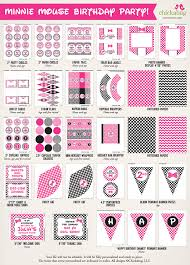 minnie mouse party printables 45 page decor kits in pink or red