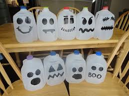Halloween Decorations Using Milk Jugs - ghost milk jugs cute you could also fill them up with