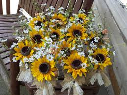 sunflower wedding decorations rustic sunflower burlap and lace small table arrangements