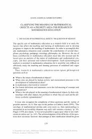 how to write a summary of a paper clarifying the meaning of mathematical objects as a priority area mathematics education as a research domain a search for identity