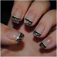 acrylics ombre faded manicure rhinestone full french pedicure with