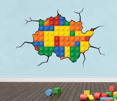 lego wall decal kid 039 s room wall decal lego wall art mural details about lego bricks style cracked wall effect decal wall sticker
