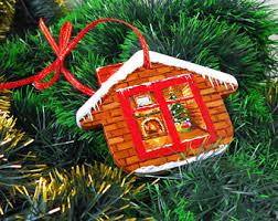 log cabin ornament etsy
