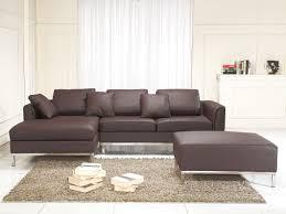 divano ottomano divano angolare in pelle marrone con ottomana oslo destro beliani it
