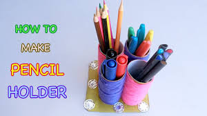 how to make pen holder from paper roll crafts for kids youtube