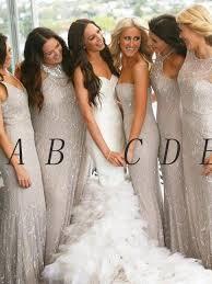 silver bridesmaid dresses sequin bridesmaid dresses silver sheath column bridesmaid dresses