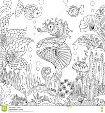 seahorse and coral stock vector image 78161463
