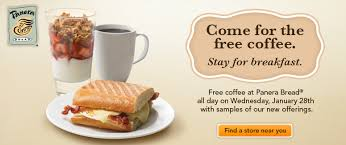 free stuff panera giving away free coffee wednesday morning malled