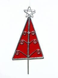 glass santa ornaments stained glass tree ornament for glass