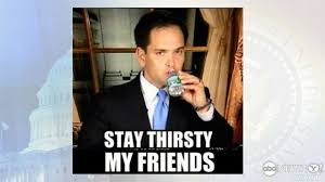 Stay Thirsty My Friends Meme - marco rubio s water break jokes not drying up online abc news