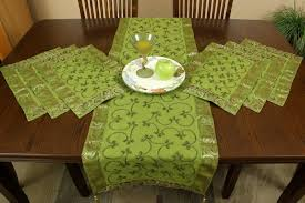 table runner placemat set hand embroidered 7 piece placemat table runner set banarsi designs