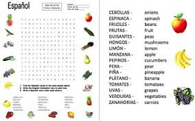 fruits and vegetables word search and picture ids worksheet