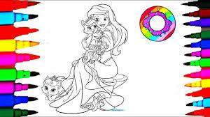 disney princess ariel u0026 pet coloring pages l coloring markers