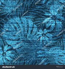 Denim Blue by Vector Denim Exotic Leaf Seamless Pattern Stock Vector 655597363