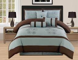 Blue And Brown Bed Sets 7 Pieces Brown Aqua Blue Embroidery Comforter Set Bed