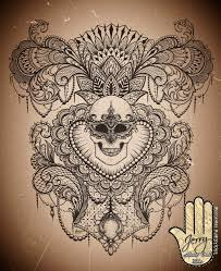 feminine back piece tattoo idea design skull with mandala and