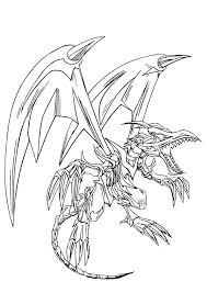 dessin à colorier du méchant dragon yugioh entrain de voler avec