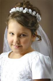 cute hairstyles for first communion first communion beaded rose veil 33293