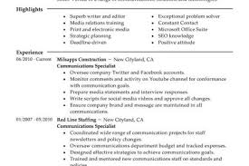 marketing communication specialist resume internal communications
