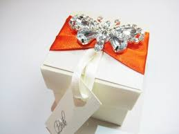 ribbon with names wedding favour boxe decorated with diamante butterfly