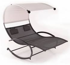 Double Chaise Lounge Chair Patio Double Chaise Swing Rocker W Canopy Pool Outdoor Furniture