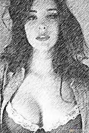 sketch of a in big cleavage convertimage me