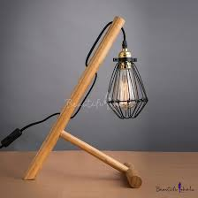 country style wood industrial table lamp with mini cage