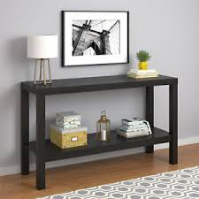 Black Console Table With Storage Console Table For Living Room Storage Bottom Shelf Black Oak